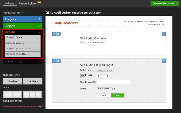 site audit widget